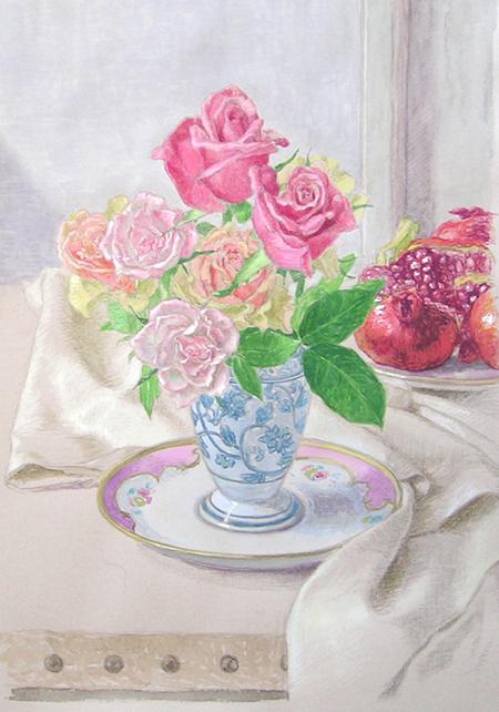 花の絵(バラ) 約4号(水彩画 ... : 野菜 絵 : すべての講義
